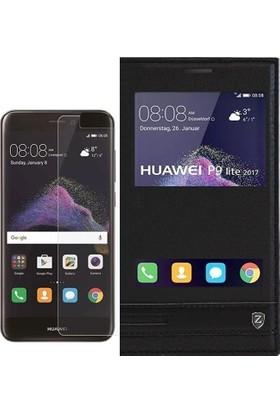 KılıfShop Huawei P9 Lite 2017 Pencereli Kılıf + Ekran Koruyucu