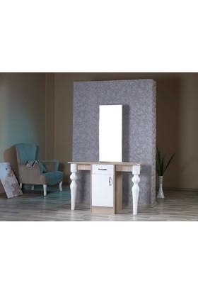 Mobusta Peria Midi Meşe Beyaz Makyaj Takı Dolabı Tuvalet Aynası