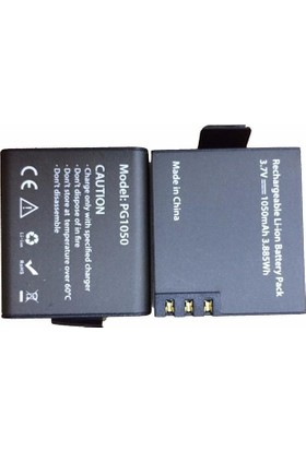 Eken H9R H9 W9 Çift Batarya PG1050 1050 mAh Yedek Pil Seti