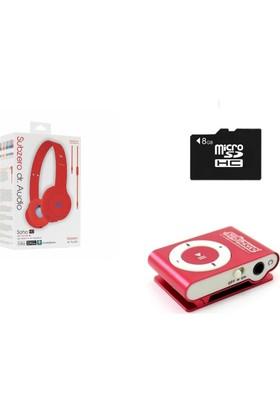 Subzero MP3 Player + 8 GB Hafıza Kartı + Subzero Kırmızı Kulaklık