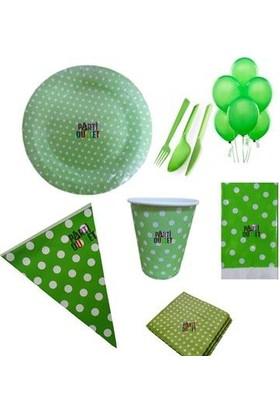 Partioutlet Yeşil Puantiyeli Parti Seti 16 Kişilik