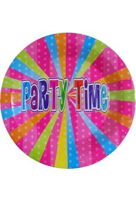 Partioutlet Party Tıme Tabak Pembe 8 Li