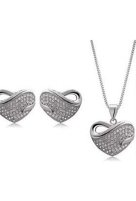 E-Hediyeci 18K Kaplama Gümüş Renk Love Kalpli Takı Seti