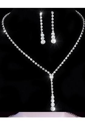 E-Hediyeci Modern Kristalli Jewellery Beyaz Taşlı Kolye Seti