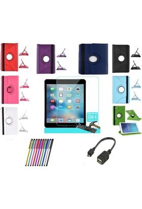 Ebrar Apple iPad 2 3 4 360 Dönerli Tablet Kılıf+9H Kırılmaz Cam+Kalem+Otg Kablo