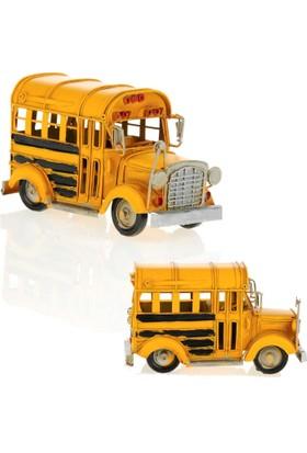 Mnk El Yapımı Eskitilmiş Metal Vintage Otobüs Londra Sarı Okul Otobüsü 5853