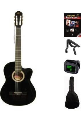 Barcelona Lc 3900 Cbk Cutaway Klasik Gitar Seti (Gitar-Kılıf-Kapo-Gitar Metodu-Akort Cihazı-Pena)
