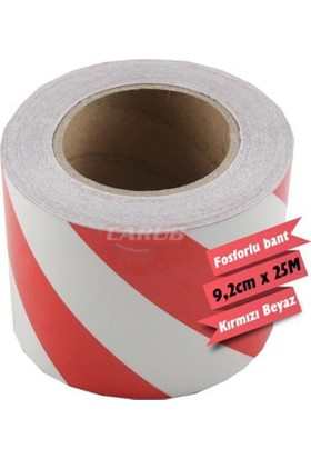 Nettedarikcisi Fosforlu Bant Çapraz 9,2Cmx25M Beyaz-Kırmızı