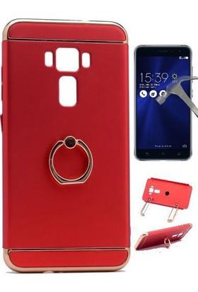 Teleplus Asus Zenfone 3 ZE552KL Yüzüklü Kapak Kılıf + Cam Ekran Koruyucu