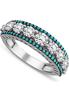 Wontis 925 Ayar Gümüş Mavi 7 Taşlı Yüzük Wnt-2120015 23