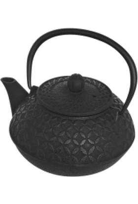 İkram Dünyası Bambum Linden - Yonca 800 Ml Siyah Döküm Çaydanlık