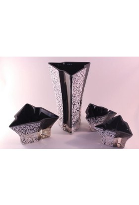 İkram Dünyası Siyah Beyaz Vazo Takım 4`Lü ( Özel Üretim )