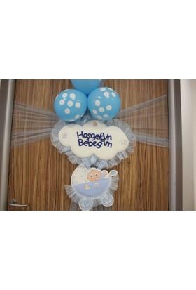 Umut Çiçek Evi Sevimli Bulut Erkek Bebek Kapı Süsü