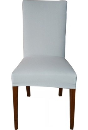 Likralı Esnek Scuba Kumaş Sandalye Kılıfı-Beyaz