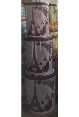 Şenyayla Pedallı Çöp Kovası Desenli 3'Lü Mor
