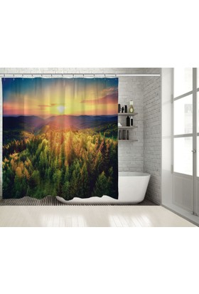 Positivehome Romantik Gün BatımıOrman Doğa Manzaralı Duş Perdesi