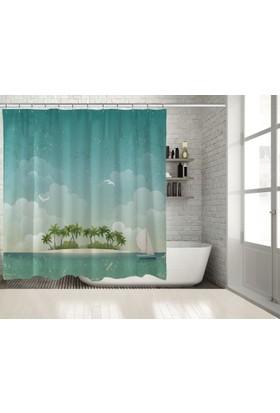 Positivehome Palmiyeli Ada Yelkenli MaviDeniz Manzaralı Duş Perdesi