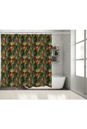 Positivehome Turuncu Yeşil Kuş Tüylü Desenli Renkli Duş Perdesi