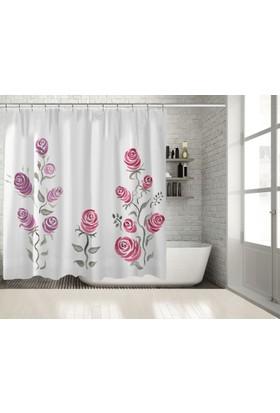 Positivehome Mor Pembe Ve Gri Gül Çiçek Desenli Duş Perdesi