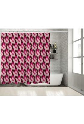 Positivehome Pembe Fuşya Bordo Renkli İkat Desenli Batik Duş Perdesi
