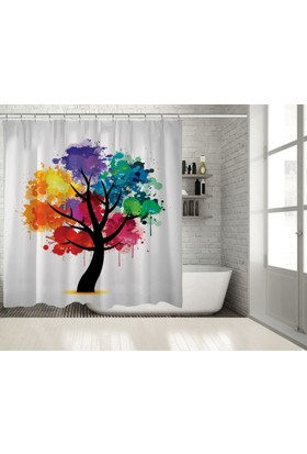 Positivehome Rengarenk Ağaç Sulu Boya Etkili Dekoratif Duş Perdesi