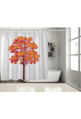 Positivehome KırmızıTuruncu Ağaç Yapraklar Sonbahar Duş Perdesi