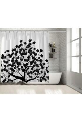 Positivehome Siyah Beyaz Ağaç Yapraklar Duş Perdesi