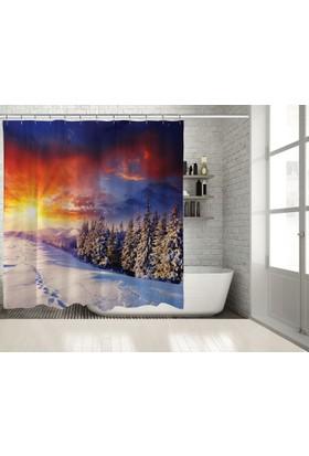 Positivehome Dağ Kar Kış Romantik Gün BatımıManzaralı Duş Perdesi