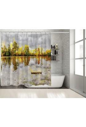 Positivehome Yağlı Boya Etkili Sonbahar Göl Manzaralı Duş Perdesi