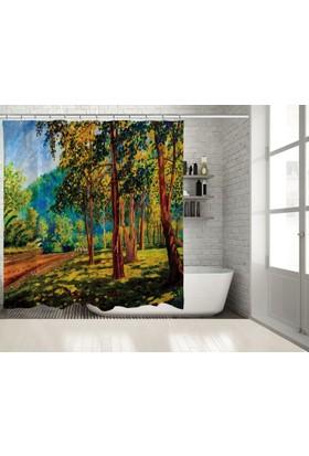 Positivehome Yağlı Boya Etkili Yeşil Orman Manzaralı Duş Perdesi