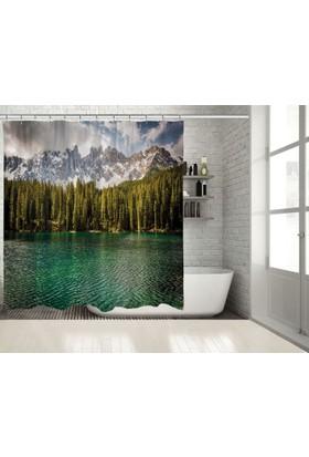 Positivehome Alpler Göl Ağaçlar Doğa Manzaralı Mavi Yeşil Duş Perdesi