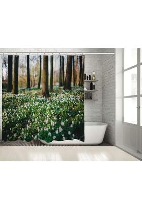Positivehome İlkbahar ÇiçeklerRomantik Doğa Manzaralı Duş Perdesi
