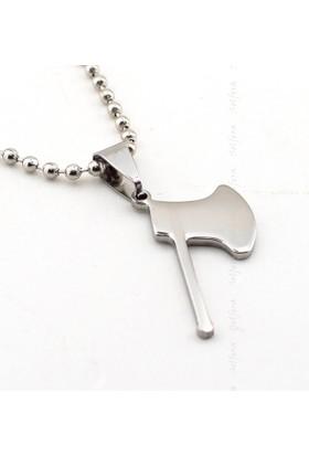 Solfera Küçük Boy Balta Gümüş Renk Çelik Erkek Kolye K746