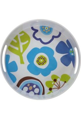 Bosphorus Melamin Yuvarlak Tepsi Mavi Çiçek Desen