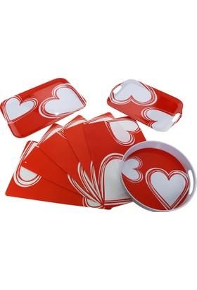 Bosphorus Kırmızı Kalp Desenli 8 Li Mutfak Servis Seti