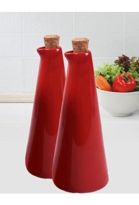 Keramika 2 Adet 21 Cm Kırmızı Yağdanlık