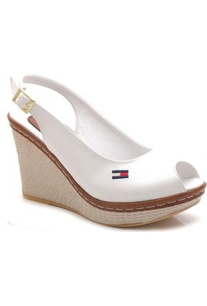Leona Lewis 14652-10 Beyaz Dolgu Kadın Sandalet