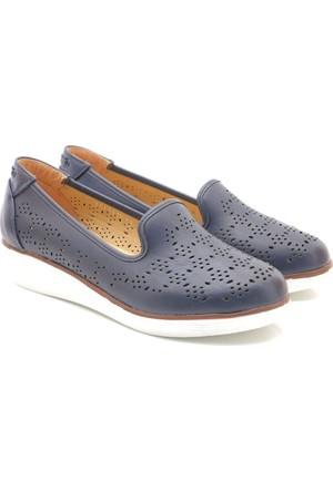 Polaris Dolgu Topuk Lacivert Ayakkabı