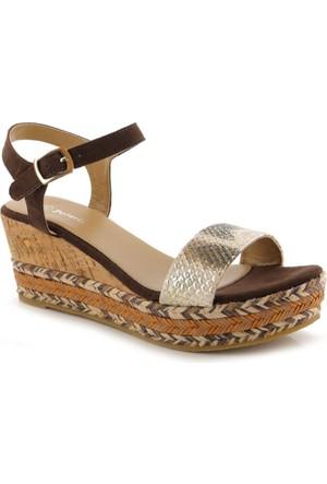 Polaris Kahverengi Hasır Örgü Kadın Sandalet