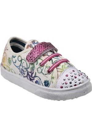 Polaris Taşlı Keten Beyaz Kız Çocuk Ayakkabı