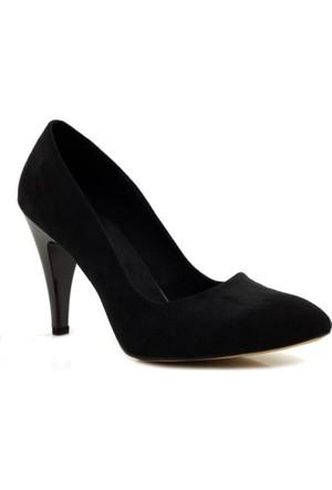 Stilo Stiletto Siyah Süet Topuklu Ayakkabı