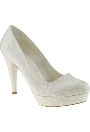 Isabel 460 Saten Desenli Platform Sedef Bayan Ayakkabı