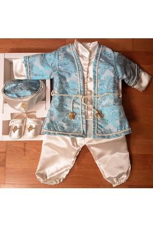 KidsTrend Erkek Bebek Mevlüt Takımı Şehzade Osmanlı Tuğralı Bebek Mavisi Doğum Hediyesi