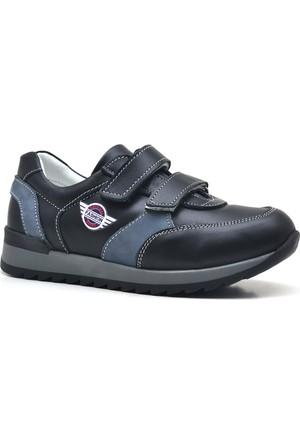 Hakiki Deri Cırtlı Siyah Erkek Çocuk Spor Ayakkabı