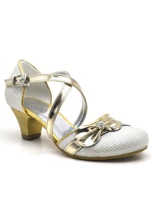 Sarıkaya Abiye Altın Rengi Taşlı Fiyonklu Topuklu Kız Çocuk Ayakkabı