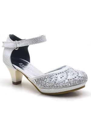 Sarıkaya Abiye Sedefli Taşlı Topuklu Kız Çocuk Ayakkabı
