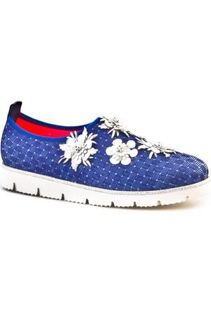 Cabani Light Taban Çiçekli Günlük Kadın Ayakkabı Lacivert Deri