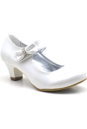 Sarıkaya Abiye Sedef Rengi Taşlı Fiyonklu Topuklu Kız Çocuk Ayakkabı