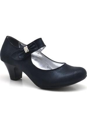 Sarıkaya Abiye Siyah Taşlı Fiyonklu Topuklu Kız Çocuk Ayakkabı