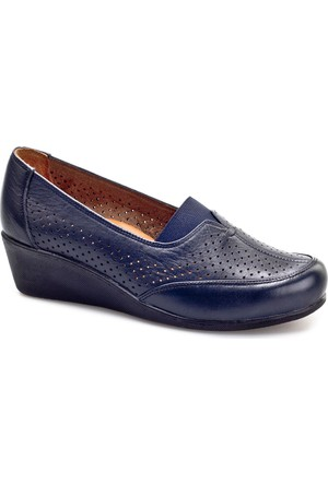 Cabani Dolgu Topuklu Günlük Kadın Ayakkabı Lacivert Deri